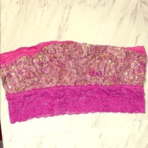 Free People Pink Sequin bandeau. XS